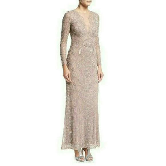Aidan Mattox Dresses | Beaded Illusion Long Sleeve Gown | Poshmark